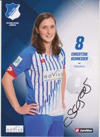 Original Women Football Autograph Card CHRISTINE SCHNEIDER Frauen Bundesliga 2015 / 16 TSG HOFFENHEIM - Autographes