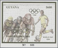 ** Thematik: Sport-Radsport / Sport-cycling: 1993, Guyana. Set Of 100 GOLD Souvenir Sheets And 100 SILV - Cycling