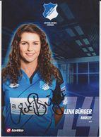 Original Women Football Autograph Card LINA BURGER Frauen Bundesliga 2016 / 17 TSG HOFFENHEIM - Authographs