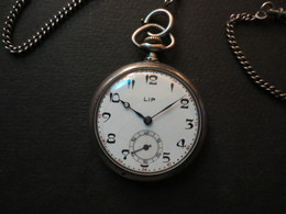 Montre Gousset Argent Marque LIP Avec Sa Chainette - B.E - - Watches: Bracket