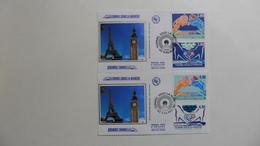 France : FDC :1 Er Jour :Tunnel Sous La Manche  Calais   :  1994    :N° 2880/83  2  Enveloppes - FDC