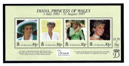 St Helena 711 MNH 1998 Princess Diana S/S - Sainte-Hélène