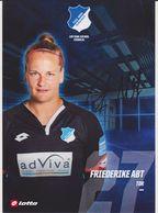 Original Women Football Autograph Card FRIEDERIKE ABT Frauen Bundesliga 2016 / 17 TSG HOFFENHEIM - Autographes
