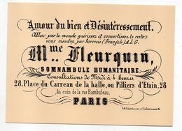 """PARIS 1er--Place Du Carreau De La Halle--Pub D'hier Et D'aujourd'hui--FAC-SIMILE--Somnambule Humanitaire""""Mme Meurquin""""- - Arrondissement: 01"""