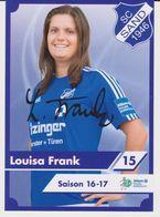 Original Women Football Autograph Card LOUISA FRANK Frauen Bundesliga 2016 / 17 SC SAND - Autographes
