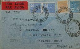 L) 1938 BRAZIL, MERCURY, SCOTT A76 400R DULL BLUE, 1000R, 500R RED BROWN, MULTIPLE STAMPS, CIRCULATED COVER FOM BRAZIL - Brazil