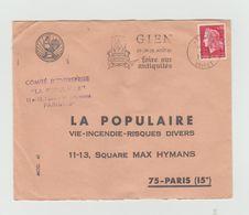 """LSC 1969 -   GIEN  - Flamme -  """"Gien 23 24 25 Aout 69 Foire Aux Antiquités """" - Marcophilie (Lettres)"""