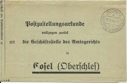 DR 1940, Postzustellungsurkunde M. Oberschlesien Stpl. Mechnitz über Krappitz - Allemagne