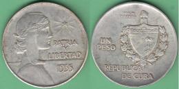 1935-MN-110 CUBA 1935 1$ REPUBLICA ABC SILVER 26.7gr. - Cuba