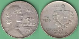 1938-MN-110 CUBA 1938 1$ REPUBLICA ABC SILVER 26.7gr. - Cuba