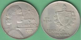 1939-MN-100 CUBA 1939 1$ REPUBLICA ABC SILVER 26.7gr. VF PLUS XF. - Cuba