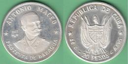 1977-MN-110 CUBA 1977 20$ FINE 925 SILVER PROOF. ANTONIO MACEO. 26 Gr UNC. - Cuba