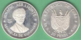 1977-MN-111 CUBA 1977 20$ FINE 925 SILVER PROOF. IGNACIO AGRAMONTE. 26 Gr UNC. - Cuba
