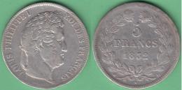 M256 FRANCE SILVER 5fr LOUIS PHILLIPPE I 1832 D. LION. - France