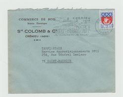 """LSC 1965 - Entête Commerce De Bois - CREMIEU + Flamme    """" CREMIEU Isère Ses Monuments Ses Halles """" - Marcophilie (Lettres)"""