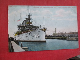 Cruiser Maryland In Dock Charlestown Mass.   Ref 2834 - Warships