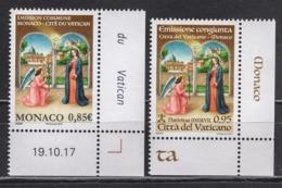 MONACO 2018 - ( EMISSION COMMUNE MONACO-LE VATICAN : L'ANNONCIATION ) - 2 TP NEUFS ** - Vaticano