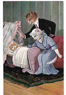 SCHROPLER CHATS HUMANISES HABILLES Un Couple Et Bébé Dans Le Berceau 1913 CPA 2 SCANS - Illustrateurs & Photographes