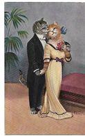 SCHROPLER CHATS HUMANISES HABILLES Un Couple, Elle Tient Une Rose Contre Sa Poitrine 1912 CPA 2 SCANS - Illustrateurs & Photographes