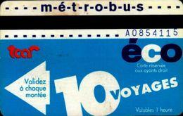 TITRE DE TRANSPORT ..METROBUS   10 VOYAGES  ECO..  TCAR ROUEN - Métro