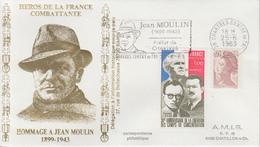 Enveloppe   Hommage  à   JEAN   MOULIN    CHARTRES   1983 - Guerre Mondiale (Seconde)