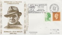 Enveloppe   Hommage  à   JEAN   MOULIN    MONTPELLIER   1983 - Guerre Mondiale (Seconde)