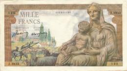 H34 - FRANCE - Billet De 1000 Francs Déesse DEMETER - 1871-1952 Anciens Francs Circulés Au XXème