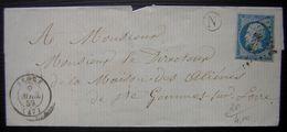 1859 Segré Maine Et Loire Boite Rurale N Pc 2859 Pour Le Directeur De La Maison Des Aliénés De St Gemme - Marcophilie (Lettres)