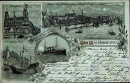 Clair De Lune Lithographie Hamburg Mitte Altstadt, Schiffswerft Blohm Und Voss, Dampfschiff, Elbbrücke - Germany