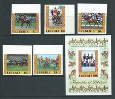 Liberia 1977 Montreal Olympic Games Equestrian Set 4 & Both Airmails Imperforate MNH - Summer 1976: Montreal