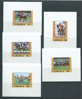 Liberia 1977 Montreal Olympic Games Equestrian Set 4 & 55c Airmail Imperforate Deluxe Sheets MNH - Summer 1976: Montreal
