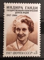 X1 Russia USSR 1987 MNH Stamp - The 70th Birth Anniversary Of Indira Gandhi India - 1923-1991 URSS
