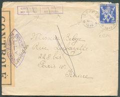 1Fr.75 LION V Obl. Sc Relais De LOPPEM * Sur Lettre Censurée Du 1-VII-1945 Vers La France + Griffe Bilingue LANGUE EMPLO - Postmark Collection