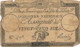 H34 - FRANCE - ASSIGNAT DE 25 SOLS - Domaines Nationaux - Assegnati