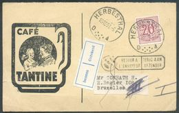 CAFE BELGIUM  - Cart De HERBESTHAL Le 18-10-1953 Ver Bruxelles + Griffe RETOUR A L'ENVOYEUR Et Inconnu -  12525 - Autres