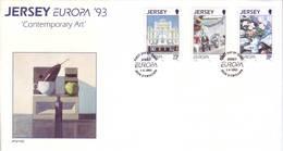 Jersey 1993 - FDC Europa CEPT, Arte Contemporanea, 3v - Jersey