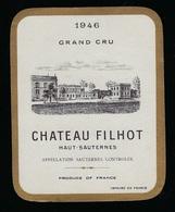 Etiquette Vin  Haur Sauternes Grand Cru Chateau Filhot 1946 - Bordeaux
