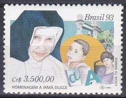 Brasilien Brasil 1993 Gesellschaft Wohlfahrt Welfare Fürsorge Care Persönlichkeiten Schwester Dulce Lacerda, Mi. 2510 ** - Brasilien