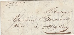 Lettre Par Exprès Sans Marque Postale De TOULON Var 11/8/1845 Pour Aiglun Alpes Maritimes - 1801-1848: Vorläufer XIX