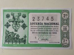Lotteria Nazionale Spagnola  1961 - Spain