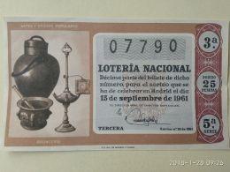 Lotteria Nazionale Spagnola  1961 - Espagne