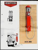 Feuillet Publicitaire Distributeur D' Essence H. BOUTILLON A.R. 255 (92 Suresnes) Avec Descriptif * Voiture Auto Pompe à - Automobile
