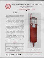 Feuillet Publicitaire Distributeur D' Essence C. 64 J. COURTIOUX Paris  * Voiture Auto Pompe à - Cars