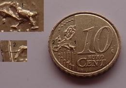 N. 43 ERRORE EURO !!! 10 CT. 2011 BELGIO ESUBERO DI METALLO CARTINA !!! RARA - Errores Y Curiosidades