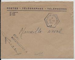 """1954 - POSTE NAVALE - AGENCE EMBARQUEE Du """"PORTE AVION ARROMANCHES"""" (RARE SANS S à AVION) Sur ENVELOPPE FM => MARSEILLE - Postmark Collection (Covers)"""