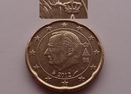 N. 49 ERRORE EURO !!! 20 CT. 2012 BELGIO ESUBERO TESTA !!! - Errores Y Curiosidades