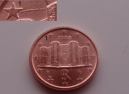 N. 57 ERRORE EURO !!! 1 CT. 2008 ITALIA DECENTRATO CON FRATTURA !!! RARO - Abarten Und Kuriositäten