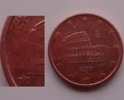 N. 9 ERRORE EURO !!! 5 CT. 2012 ITALIA SENZA STELLA !!! RARA - Errores Y Curiosidades