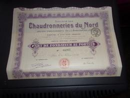 CHAUDRONNERIES DU NORD (cordonnier Et Cie) Fondateur (1919) - Unclassified