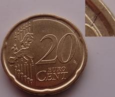 N. 66 ERRORE EURO !!! 20 CT. 2008 ITALIA FRATTURA DI CONIO !!! - Errores Y Curiosidades